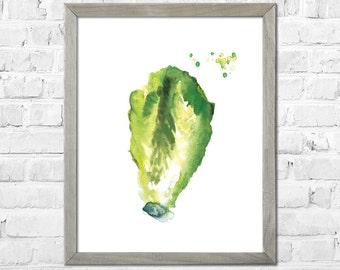 Watercolor Print, Lettuce Art, Kitchen Wall Art, Kitchen Art Print, Vegetable Watercolor Painting, Kitchen Wall Decor