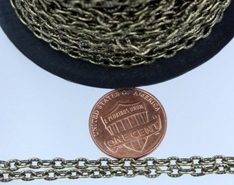 Antique Brass Chain, 12 ft of Antique Brass Textured Cable Chain - 4X3mm unsoldered link