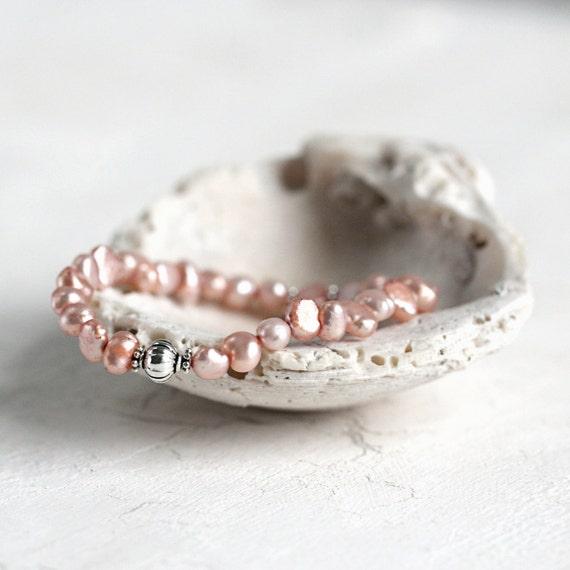 Peach Pearl Bracelet - June Birthstone Bracelet