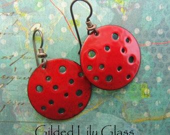 Holey Moley Red Enamel Earrings, Copper Enamel Jewelry handmade in North Carolina