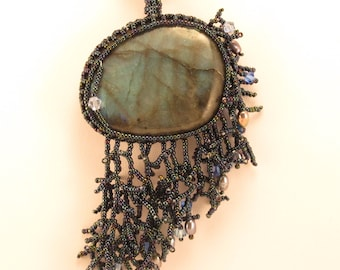 Necklace-Labradorite cabochon-netted bezel-pearl-crystal dangles-opalescence-shimmer-modern jewelry-beadwork-natural stone-designer
