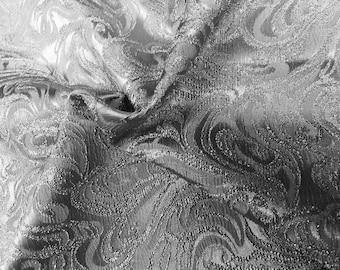 Silver Paisley Design Jacquard Brocade Cotton Poly Fabric