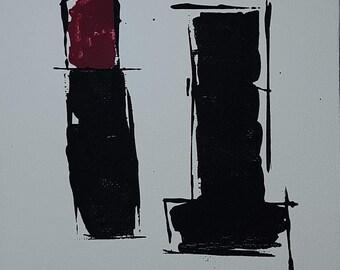 "Lip-Schtick // 6"" x 4"" canvas board original artwork acrylic painting"