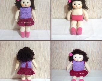 Handmade Knitted Dark Brown Hair Doll - OOAK