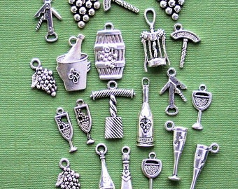 Deluxe Wine Charm Collection Antique  Silver Tone 21 Charms - COL262