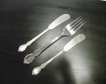 Reflection Silverplate Salad Fork & Cheese - 1847 Rogers Bros. Set of 3 Pieces - Flatware Replacements, Holiday Servers