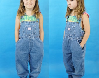 Kid's Vintage Medium Wash 90s Overalls, 90s Kids Grunge, Vintage Dungarees, 90s Long Overalls Jeans, Kids Vintage Fashion, Kid's Size 6X