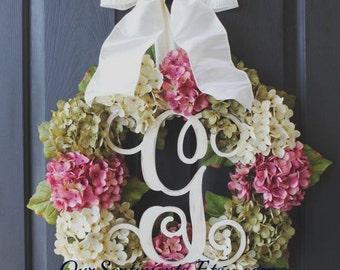 Hydrangea Wreath - Gift for her Summer Wreath - Wreath for Door   Door Wreath - Wreaths - Grapevine Wreath