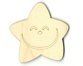 Star - Laser Cut Out Unfinished Wood Shape Craft Supply SKY17