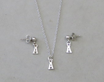 Tiny Initial A Necklace and Earring Set- Gold or Silver Plated