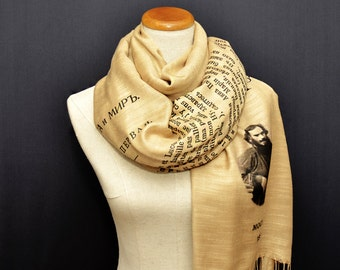 War and Peace by Leo Tolstoy shawl/scarf - Russian version
