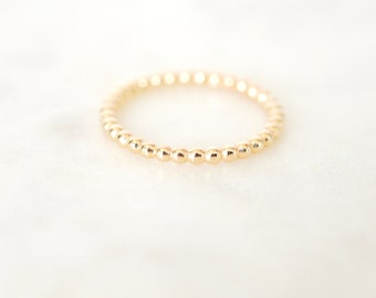 Thick Gold Beaded Stacking Rings, Beaded Ring, Thick Beaded Ring, Gold Stacking Rings, Bead Rings, Layering Ring, Gold Filled
