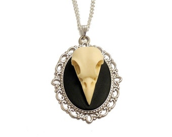 Raven skull necklace gothic bird Cameo resin replica taxidermy goth steampunk pendant