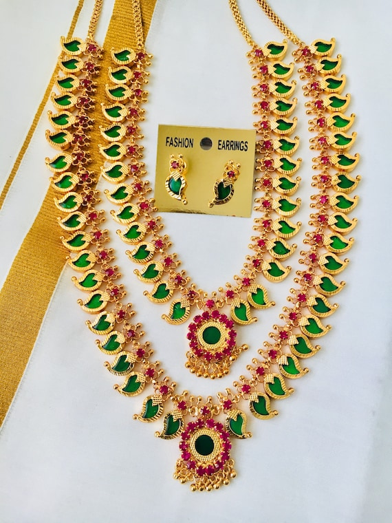 Like this item?  sc 1 st  Etsy & Traditional Micro Gold Plated Necklace sets Kerala Palakka