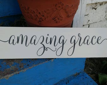 Amazing grace sign, amazing grace script stenciled wood sign, Fixer upper sign, Joanna Gaines sign