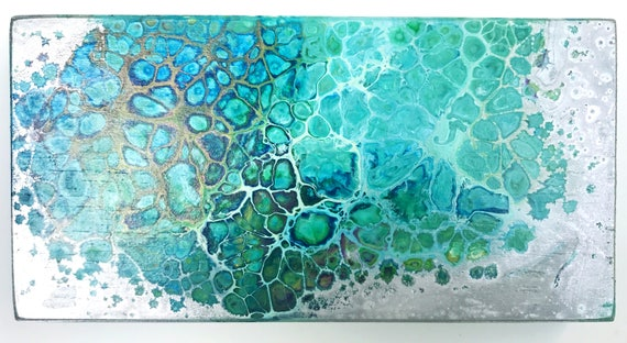 Aluminum Water (fluid acrylic original with cells / silver, teal, blue, white)