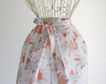 Handmade Half Apron | Rose Kitchen Apron, Garden Apron, Cotton, Pleated,