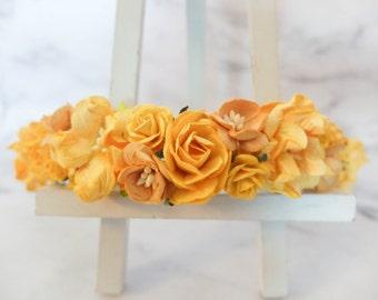 Yellow flower crown - rose crown for girls - floral hair wreath - flower headpiece - flower hair accessories