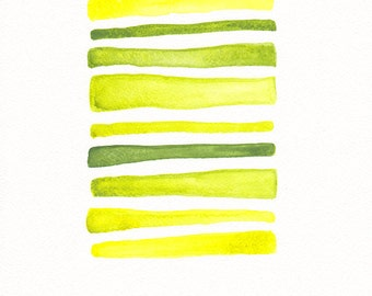 Abstract original painting in bright yellow and green tones. Small artwork on paper. Modern watercolor wall art.