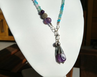 Dragons vein agate necklace blue-purple and pink-purple variations