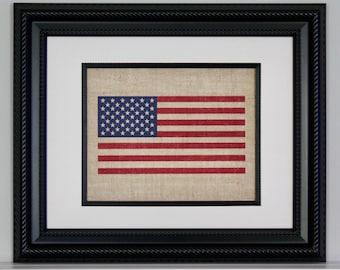 Burlap American Flag, Burlap Wall Art