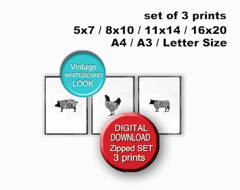 Printable Meat Cuts Print Butcher Chart Set of 3 Prints A4 8x10 5x7 A3 11x14 16x20