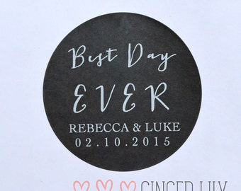 Modern BEST DAY EVER Favour Stickers - Personalised - White Print