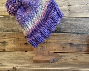 Adult purple and multi color hand knit fair isle pom hat