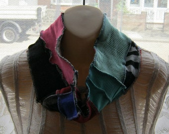 womans  fall loop scarf,double,cerise ,rose,dark red,blue,turquoise,black,maroon,sand brown,gray,green,pink,wool and jersey ,neck warmer