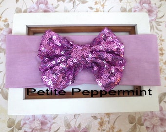 Lavender baby headband, baby head wrap, baby headband bow, light purple baby head band, baby turban, baby bow headband, toddler headband