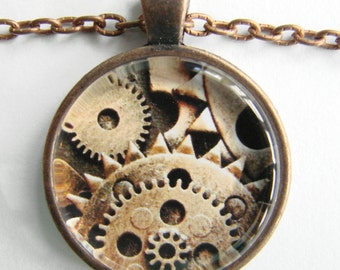 MENS STEAMPUNK GEARS Necklace -- Giant gears and cogs up close, Technology Art for him, Industrial necklace, Friendship token