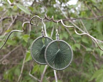 Woven String Earrings ~ Evergreen