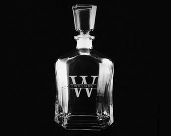 Personalized Whiskey Decanter, Engraved Monogrammed Gift, Etched Decanter, Groomsmen Gifts, Best Man, Wedding Gift Ideas, Custom Decanter