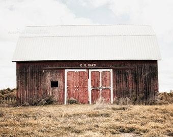 Red Barn Photo, Rustic Wall Art, Farmhouse Decor, Barn Photography, Country Landscape, Barn Art Print, Wall Decor | 'C.O. Oaks'