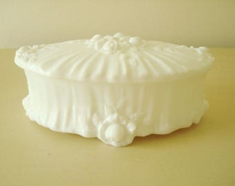 Fenton Rose milk glass, Cabbage Rose covered candy or vanity box, oval lidded box, wedding decor, housewarming gift, mid-century 1967