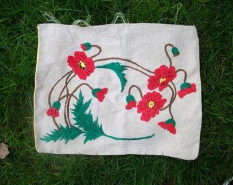 Vintage Antique Crewell Embroidered Pillow Cover
