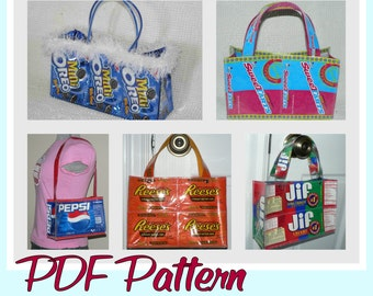 Cookie Wrapper Purse sewing pattern (PDF - instant download) DIY purse made using recycled wrappers, novelty purse, unique purse pattern