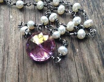 Collier de pierre gemme rose, collier de perles d'eau douce, juin Birthstone, Pierre de naissance septembre, rose Quartz mystique, argent, rose bijoux