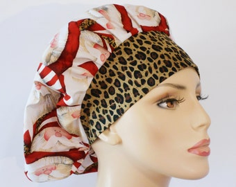 Holiday Scrub Hats Medical Bouffant Scrub Hat - Cheetah Santa with a Cheetah Headband