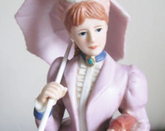 Victorian Vintage Porcelain Figurine from the Home Interior Gifts, Decked out in a Lovely Purple Dress and Bustle from the 1890's, Gift
