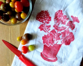 wood block print geranium tea towel by color.joy