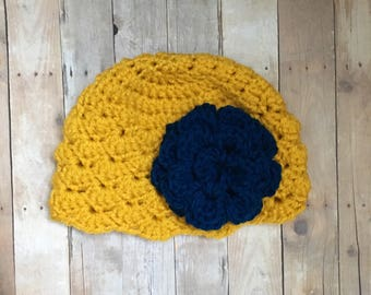 Mustard Shells Hat with Navy Flower