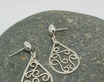 Ariana by Fedha - sterling silver filigree dangles with stud fastening, bohemian, contemporary, brushed, polished