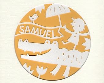 Personalized Papercut Nursery Art, Handcut Nursery Decor, Jungle Nursery Crocodile Picture, Personalized Kid's's Room Decor
