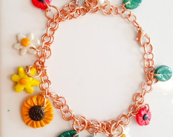 Pagan Wiccan May queen flower charm bracelet rose gold