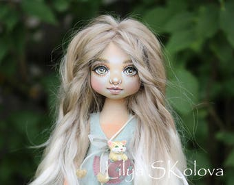 Textile doll sold a doll and interior doll fabric doll portrait doll cloth textile doll текстильная кукла selfie doll portrait doll