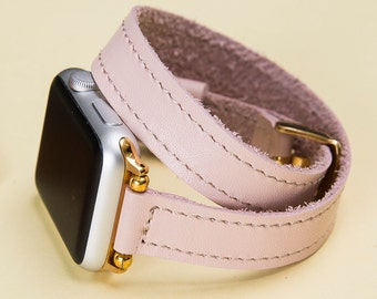 Feminine Apple Watch Band  Pink Thin Women iWatch Strap, Ultra Soft Genuine Leather, 38mm 42mm, Lazer, Initials, Gift Wrapping Avaliable