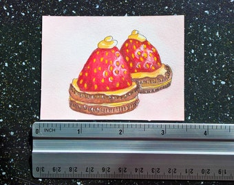 ORIGINAL ACEO food illustration on watercolor paper   Strawberries and Cookies