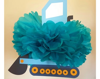 Bulldozer Construction Party Pompom Decoration/Truck Birthday Decor/Vehicle Party Supplies