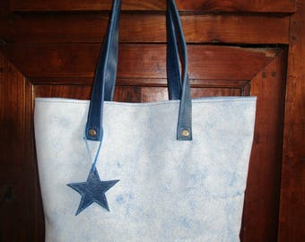 hard blue leather tote bag and Crackle white blue
